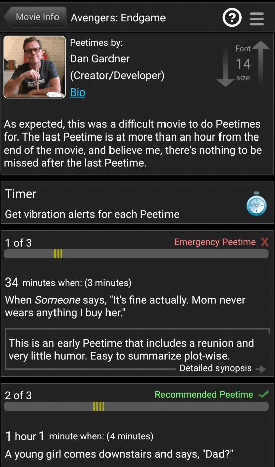 Peetimes for Avengers: Endgame