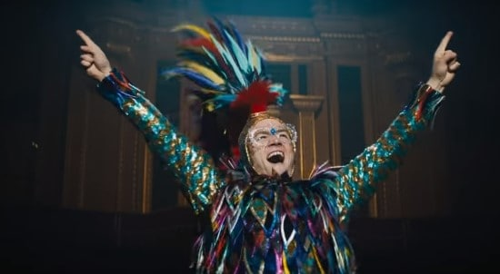 taron egerton as elton john in his bird costume