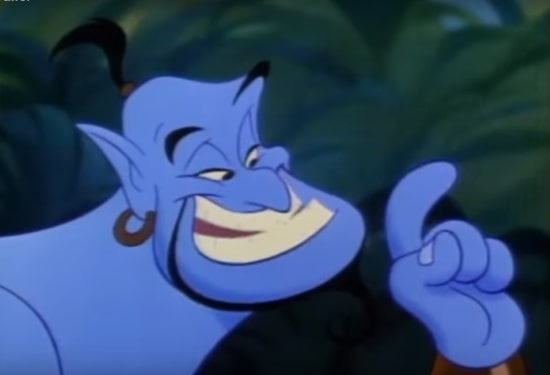 robin williams as genie in animated aladdin