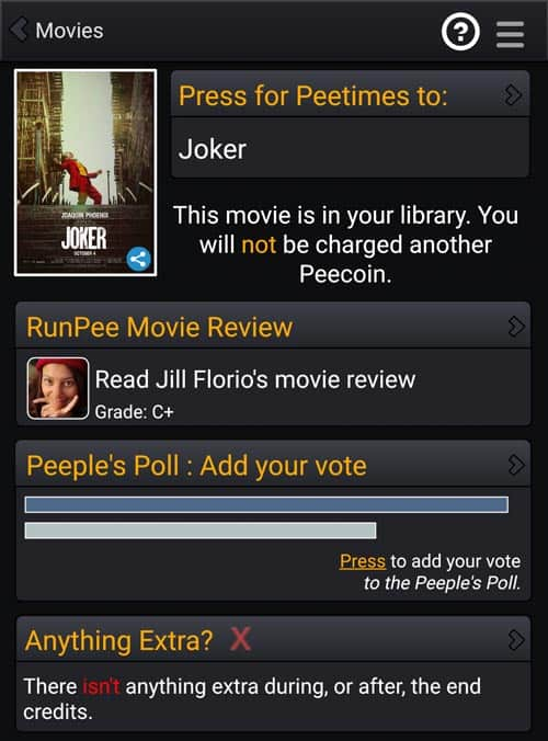 RunPee Movie Info Screen