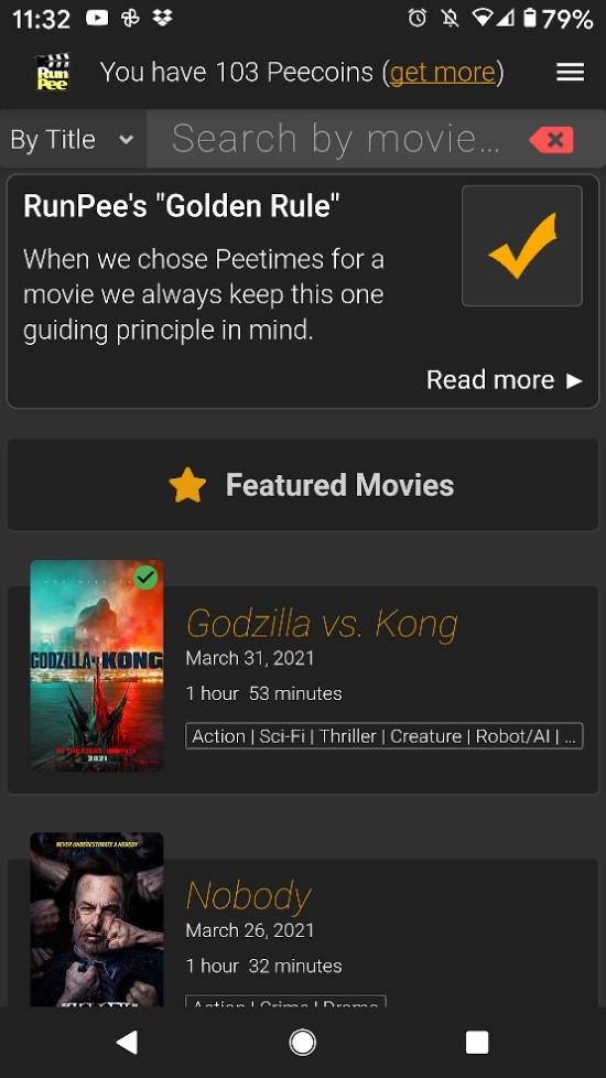 RunPee app: Movie List Screen