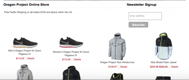 The selection of clothing available off the Nike Oregon Project Website