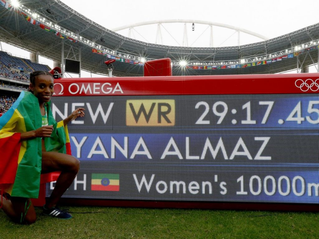 Almaz Ayana broke the women's 10,000m WR on the opening day of the athletics