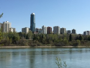 downtown Edmonton from across the river