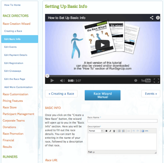 Example RunSignUp How To Page