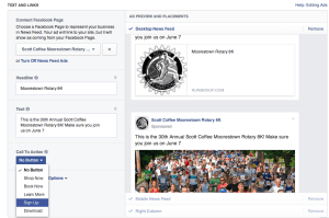 Creating your Facebook Race Ad