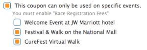 Per Event Coupon Codes