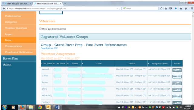 Volunteer Report