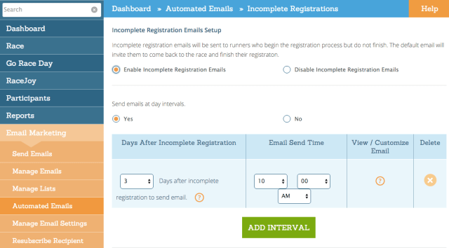 Automated Incomplete Registration Email