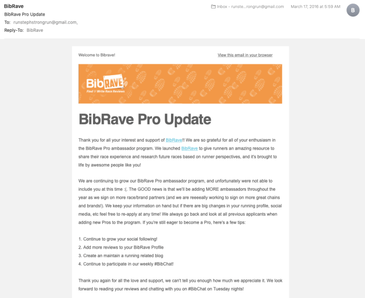 BibRave Pro rejection email