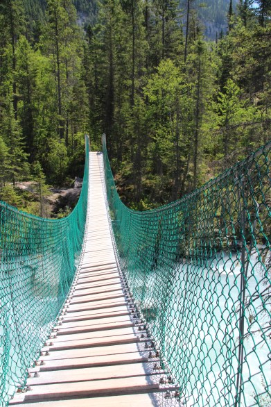 Suspension bridge leading to the Whitehorn campsite