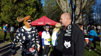 Gord the Moose with former Canuck Dave Babych