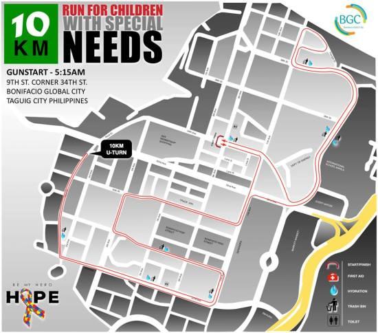 Hope Run 2016 10K Route