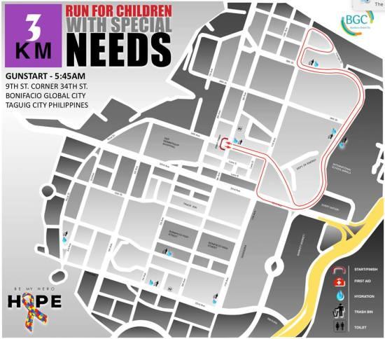 Hope Run 2016 3K Route