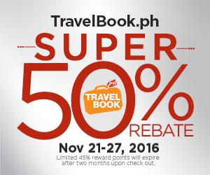 TravelBook.ph 50% Rebate