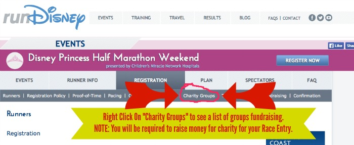 Charity Groups option runDisney