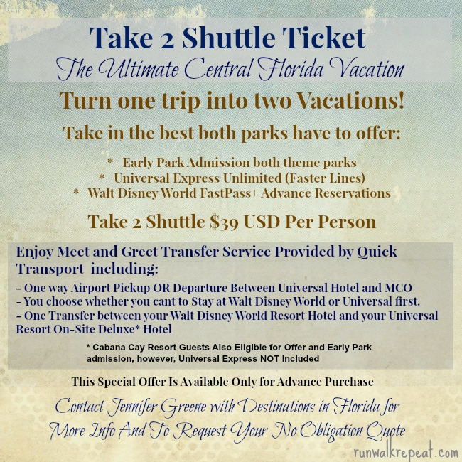 take 2 universal walt disney world offer