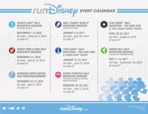 runDisney Event and Registration Calendar for 2016-2017 Race Season