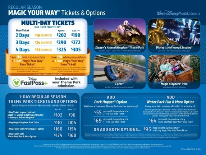 Walt Disney World 2016 Park Ticket Pricing Changes Regular