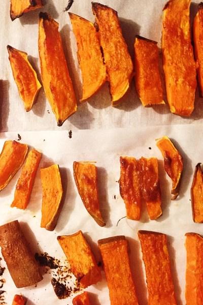 Tahini Glazed Sweet Potato Fries