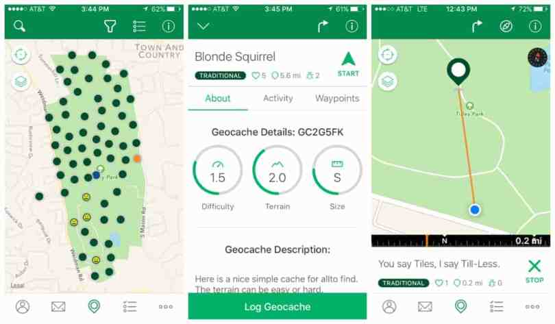Finding a geocache on the app
