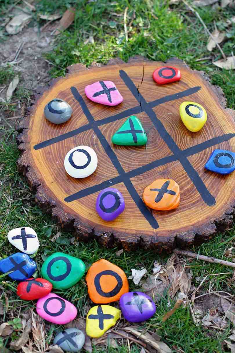 DIY nature painted tic tac toe rocks