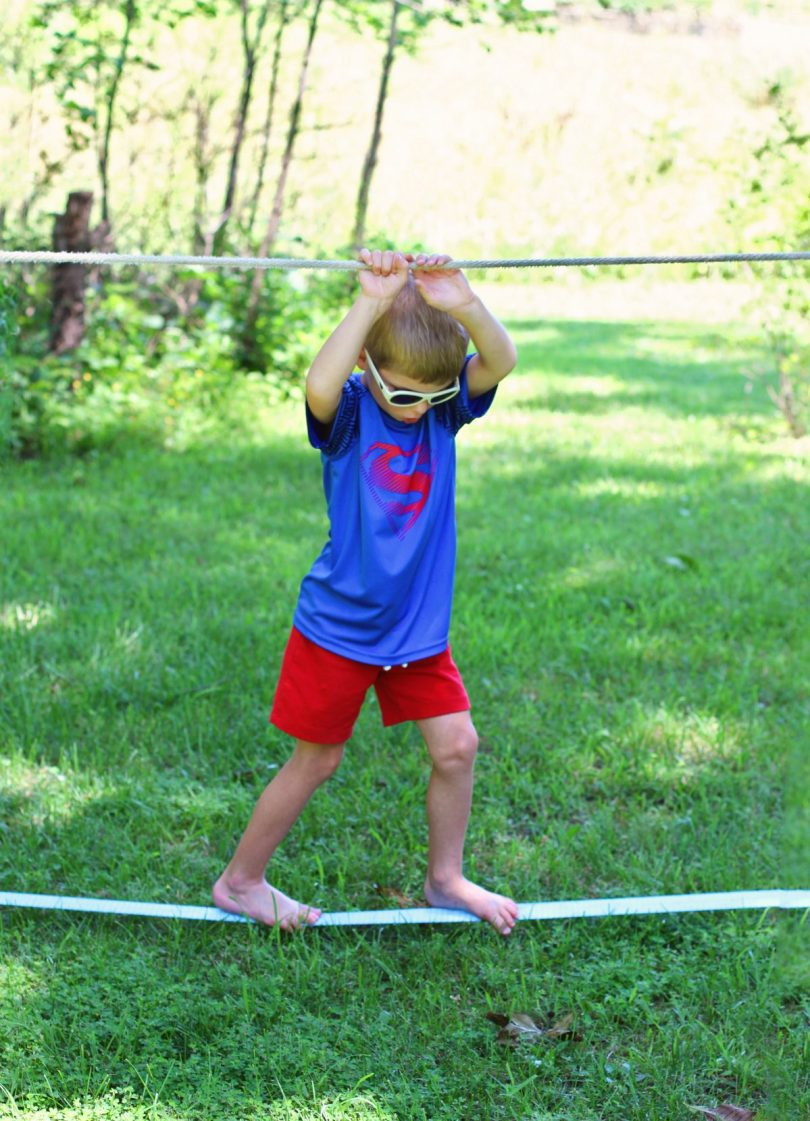 slacklining with kids camping games