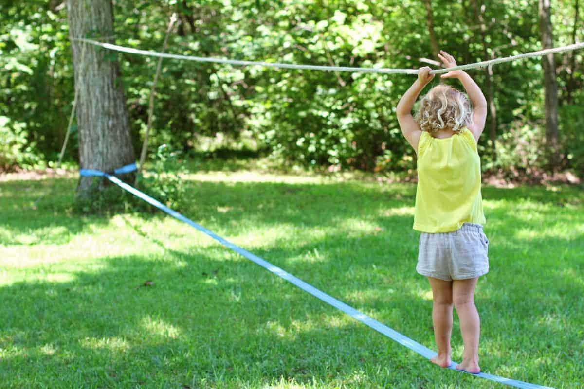 Slacklining With Kids Backyard Slackline For Kids