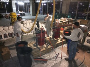 Mixing the concrete overlay in HIPPO mixers