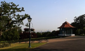 Horniman Gardens Bandstand and view of the City