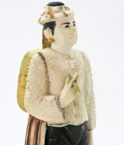 Detail of a model figure of a man displaying leg tattoo designs