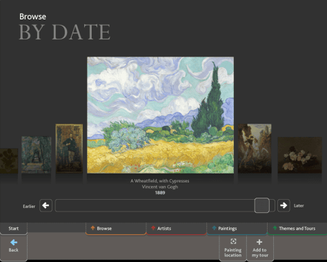 The Browse By Date screen from the National Gallery's ArtStart collection information kiosk, showing van Gogh's 'A Wheatfield, with Cypresses' (NG3861) and the date '1889'. Photo: © The National Gallery London, above a timeline with a slider and 'Earlier' and 'Later' buttons.