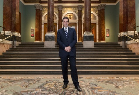 Gabriele Finaldi, Director of the National Gallery, photographed in the Vestibule of the Gallery's Wilkins Building.