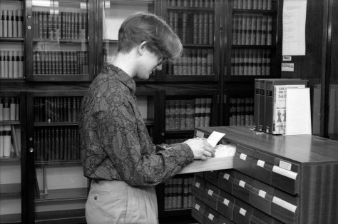 Rupert Shepherd, Periodicals Librarian, filing periodicals index cards in the National Gallery Library, c.1991.