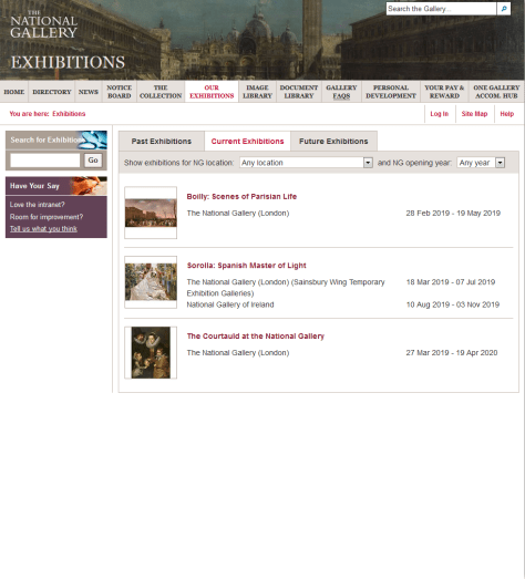 The exhibitions page of the National Gallery's intranet, listing three current exhibitions with their venues and dates, and tabs for past and future exhibitions.