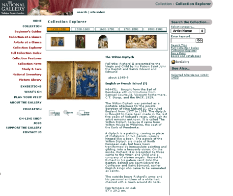 The painting page for NG4451, 'The Wilton Diptych', from the National Gallery's second website, showing an image of the painting, tombstone information, descriptive text, a timeline, search links, and links to'See Also' references.. Photo: © The National Gallery London. Courtesy of Annetta Berry.