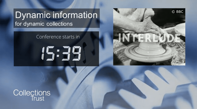 The placeholder screen for the Collections Trust 2020 conference, 'Dynamic information for dynamic collections', featuring the BBC Potter's Wheel