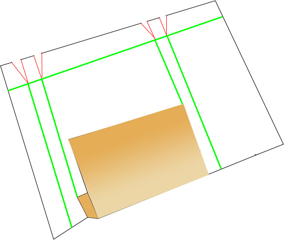 Fold view of cardboard