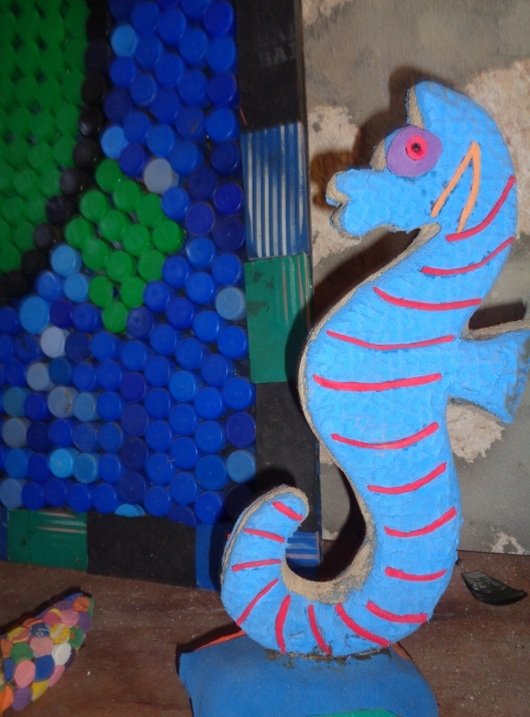Seahorse from trashed waste from sea - rubber slippera into gifts - at EcoWorld, Watamu