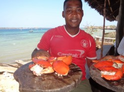 -Husni the waiter with a plater of crabs - copyright Rupi Mangat