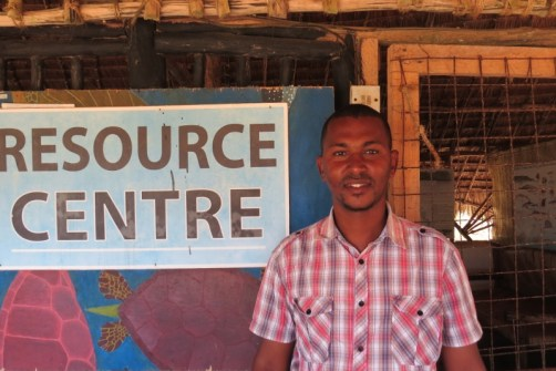 Hassan Bwanamkuu the World Wide Fund for Nature (WWF) marine project officer – a young lad from Mkokoni village Copyright Maya Mangat