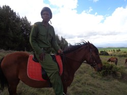 The Joint Wildlife Protection team patrolling on foot and horseback –Ethiopian ponies that can withstand the high altitude cold and rough terrain Copyright Rupi Mangat