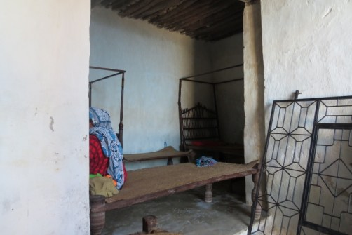 Inside the five-century-old house of Bwanamkuu Mohamed Hamdu- typical structure with galleries - note bed on right is a few centuries old from India - Pate island Copyright Maya Mangat