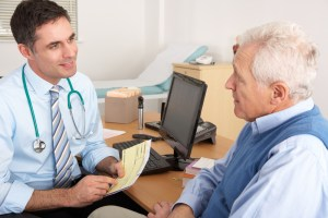 man meeting with urologist about prostate cancer