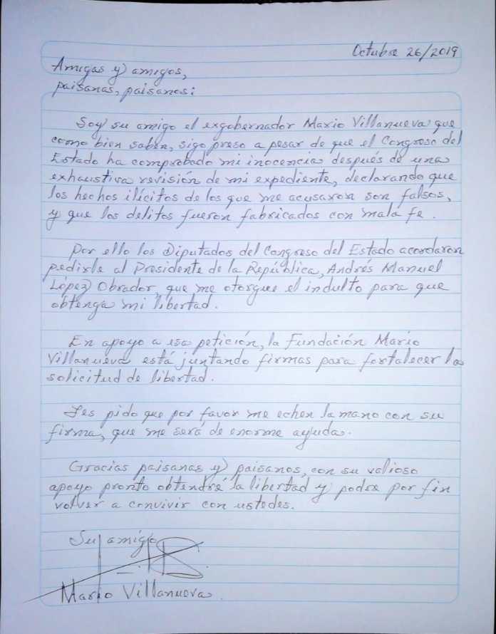 Carta de Mario Villanueva Madrid