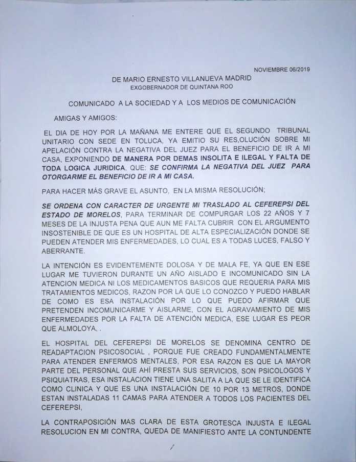 Carta de Mario Villanueva (parte 1)
