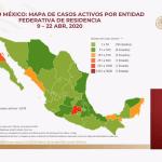 Mapa de casos activos al 22 de abril