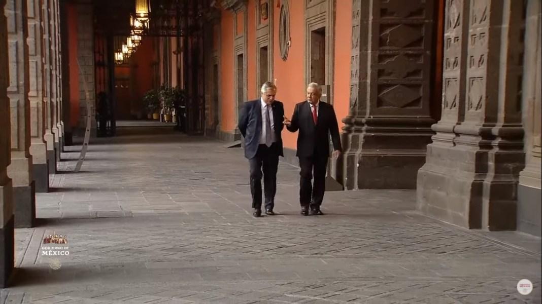 Alberto Fernández y Andrés Manuel López Obrador en La Mañanera