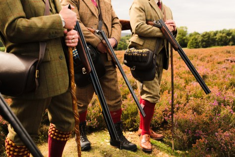 shooting party, loading service and chauffeur on the moors at grouse butts,
