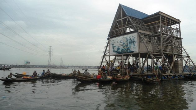 The floating hall and school, Makoko